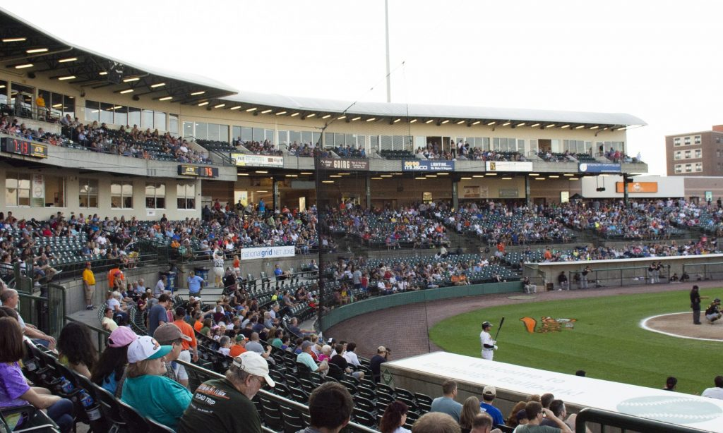The Long Island Ducks play against the New Britain Bees at Bethpage Ballpark on Wednesday, July 24, 2019 during their 20th anniversary season. Fans came out in teal to support the team. Photo by Candace Morgan.