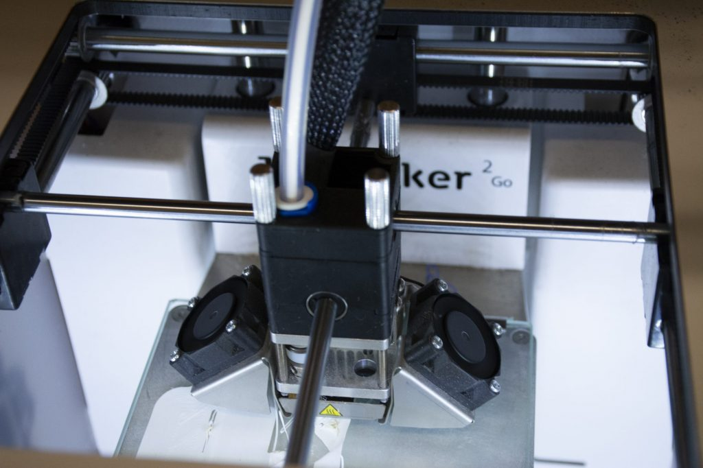 An Ultimaker 3D printer is seen at Stony Brook Univesity's iCreate lab on Thursday, July 25, 2019. The iCreate lab is a part of Stony Brook University and students can use the latest technologies to make their imaginative ideas a tangible reality. Photo by Toni Gallo.